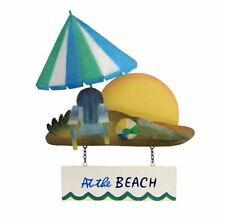 """At the Beach"" Beach Umbrella Wall Art 15.5"" Metal Bathroom Swim Pool Decor"