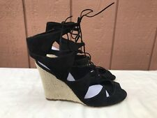 NEW Delman Basha US 9.5 Wedge Black Peep Toes Gillie Ankle Strap Lace Up Cut Out