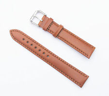 18mm Quality Genuine Leather Padded Dark Tan Watch Band - Size Regular