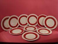 WEDGWOOD ULANDER / WHITEHALL BLANK RUBY, SET OF 10 DESSERT PLATES 20.5CMS DIA