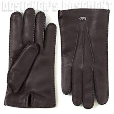 GUCCI black 9.5 leather INTERLOCKING G detail CASHMERE lined Gloves NIB Authentc