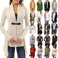 Women Ladies Knitted Cardigan Sweater Open Front Long Sleeve Jumper Coat Tops