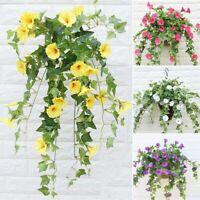 Hanging Basket Artificial Fake Silk Morning Glory Flower Vine Wedding Decor K