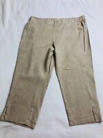 Womens J. Jill Size Petite L PL Linen Stretch Crop Capris Pants Beige