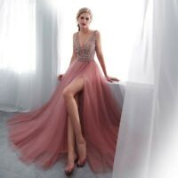 2020 Evening Dress  V-Neck Pink High Split Tulle Sweep Train Prom Gown Lace  Up