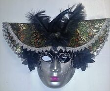 Masquerade Mask with Hat and Feathers (Black/Silver), Costume, Halloween