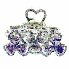USA HAIR CLAW CLIP use Swarovski Crystal Hairpin Elegant Flower Purple K17
