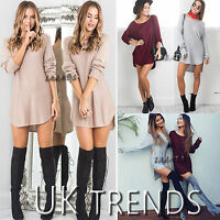 UK Womens Jumper Dress Long Sleeves Top Dipped Hem Mini Ladies Size 6-14