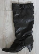Stiefel dunkelgrau mit Schnallen Lederimitat gebraucht 39