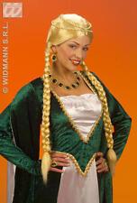 Long Blonde Wig With Plaits Renaissance Queen Tudor Fancy Dress