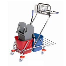 Commercial Double Mop Bucket wringer trolley with Trash Bag Holder