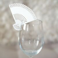 20x White Paper Fans Wedding Place Card Holder Glass Favor Laser Cut Name Card