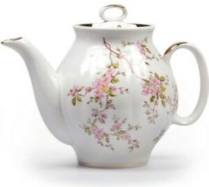 1L Brewing Teapot Dulyovo Porcelain Made in Russia Floral Pattern BLOSSOMS