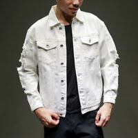 Men Distressed Ripped Denim Jacket Blazer Casual Retro Trucker Jean Coat Top New