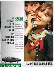 Publicité Advertising 1989 Location de voiture Europcar