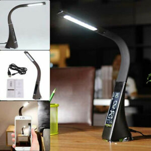LED Dimmable Reading Bedside Night Table Desk Light Calendar Clock Touch Lamp UK