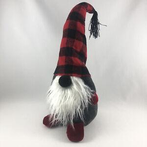 "NIP Pottery Barn Holiday Plush Gnome Medium 11"" Red Buffalo Plaid Hat Christmas"