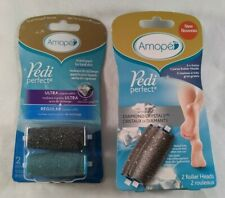 Amope Pedi Perfect with Diamond Crystals 2 Packages 4 Roller Head Replacements