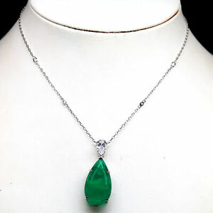 """FOREST GREEN DOUBLET EMERALD & WHITE CZ NECKLACE 17"""" 925 STERLING SILVER"""