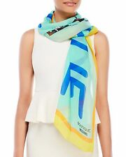 BOUTIQUE MOSCHINO Printed Silk Scarf Mint Blue