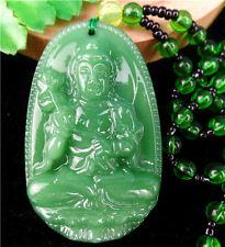 31x39x12mm Green Jade Carved Avalokitesvara Neckalce Chain Diameter:33cm AA1557*