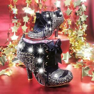Irregular Choice Winter Party Black Womens Ankle Boots