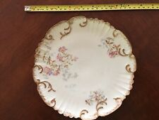 Antique LS&S Limoges France Plate Gold Scroll Scalloped Delicate Raised Flowers