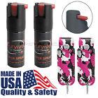 2 Pack Survivor USA Self Defense Pepper Spray w Pink Camo Leather Keychain Cases