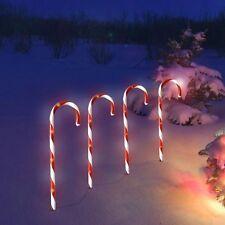 LED Gartenstecker Zuckerstangen 32 LEDs 6/18h Timer Außen Weihnachtsdeko Restp.