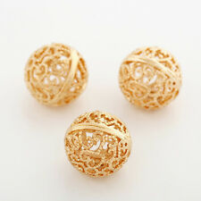 DIY Round Hollow Charms Wire Metal Spacer Beads Perles Necklace Jewelry Making