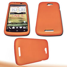 Silikon TPU Handy Hülle Cover Case in Orange + Displayschutzfolie für HTC One S