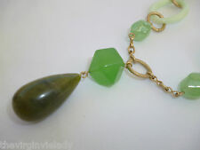 Virgin Vie 'GREEN WITH ENVY' Necklace Gold Glass Beads *NEW GIFT/PRESENT