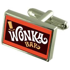 Wonker Chocolate Bar Cufflinks Engraved Message Box