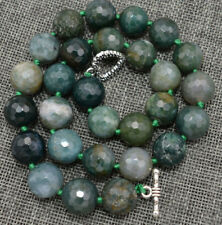 Faceted 12mm Multi-color Agate Gemstone Round Beads Necklace 18''
