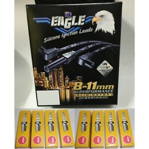 Black Eagle 9mm Ignition Leads & 8 NGK Spark Plugs E9805BK BP5ES suits suits Chr