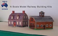 N Scale House and Barn + Shed Pack Model Railway Building Kit, Details - NSHB1