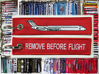 Keyring McDonnell Douglas MD80 DC-9 RED Remove Before Flight tag keychain pilot