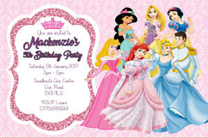 Personalised Disney Princesses and Prince Birthday Party Invites + envelopes D13