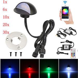 1-30Pcs Smart Wifi Timer 35mm RGB LED Deck Rail Step Light Garden Yard Lamp IP67