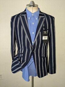 Topman 38R Muscle Fit Hacking Yacht Sailing Striped peak Blazer Jacket Coat