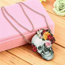 Flower Rose Skull Skeleton Wood Acrylic Pendant Chain Necklace Jewelry Gift FO