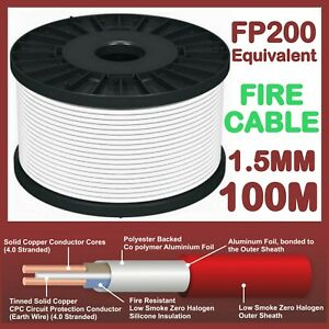 NO BURN 2 CORE WIRE TWIN + EARTH FIRE PROTECTION 1.5mm ALARM T&E FP CABLE 100m
