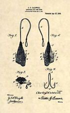 Official 1909 Fly Fishing Hook US Patent Art Print- Vintage Lure Antique 212
