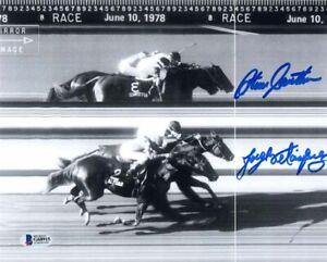 STEVE CAUTHEN JORGE VELASQUEZ SIGNED 8x10 PHOTO ALYDAR AFFIRMED RARE BECKETT BAS