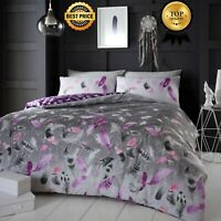 Flannelette 100% Brushed Cotton Feathers Duvet Cover Bed Set Single Double King