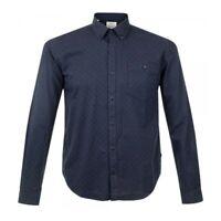 Mens BEACON BARBOUR navy blue diamond print long sleeve Shirt size MEDIUM smart
