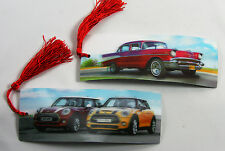 2 Bookmarks - 3D Lenticular - AUTOS - Vintage Chevy & Mini Coopers