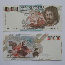 RIPRODUZIONE 100.000 LIRE CARAVAGGIO I TIPO BANCONOTA ITALIANA 100000 LIRA FDS