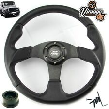 Land Rover Defender Black Motorsport Steering Wheel 36 Spline Boss Kit & Horn