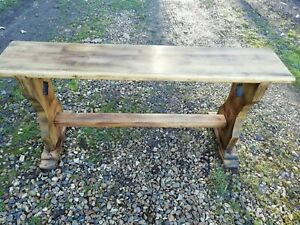 Vintage Hand Crafted Solid Pine Bench Pegged Cut Out Decoration Dated 1979